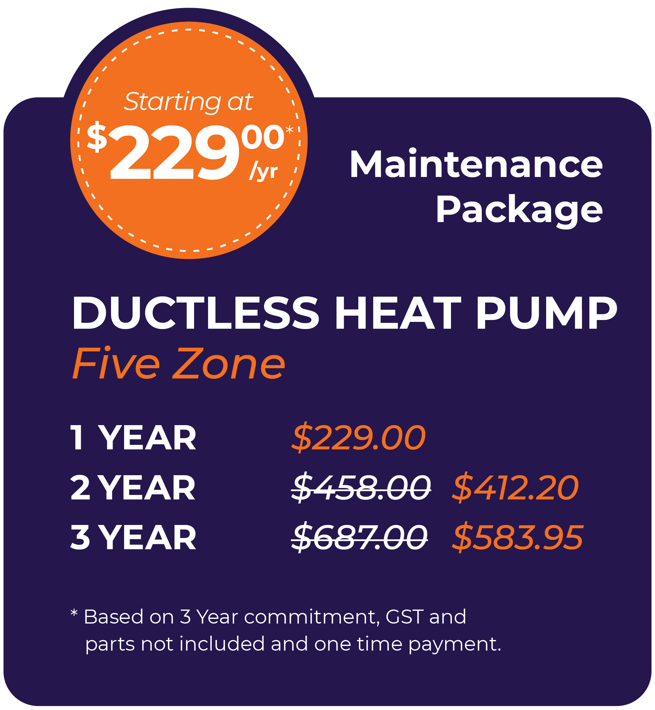 Ductless Heat Pump Five Zone Maintenance Package