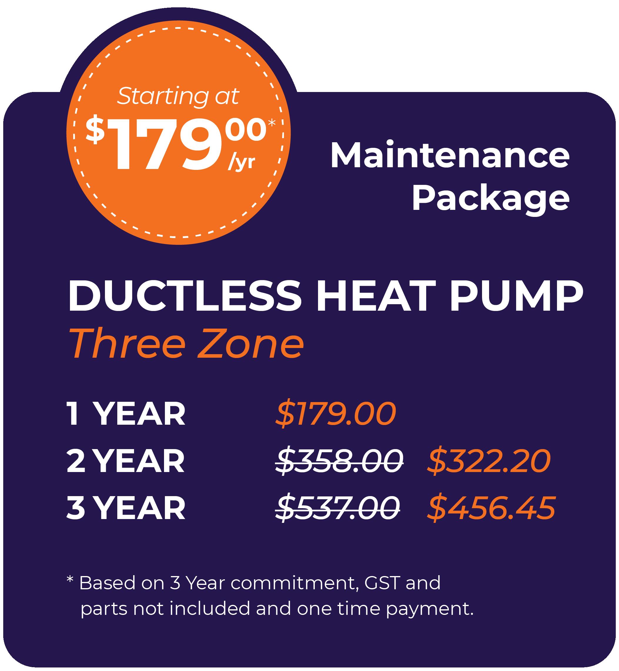 Ductless Heat Pump Three Zone Maintenance Package