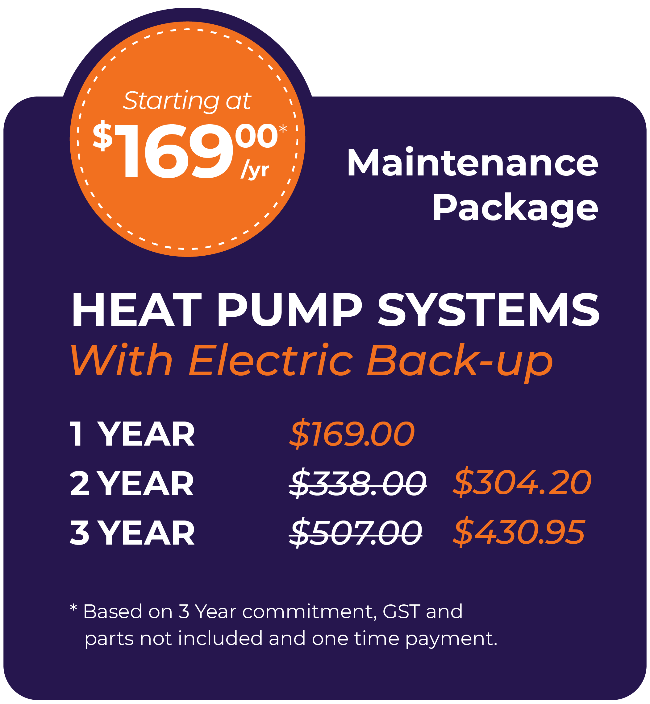 Heat Pump Systems with Electric Back-Up Maintenance Package